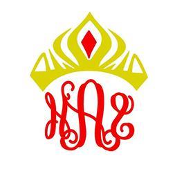Princess Crown Royal Monogram Decal Sticker for Laptop Dorm
