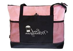 4 PC Bundle- Pink Tote Bag, Black Purse Organizer, Stainless