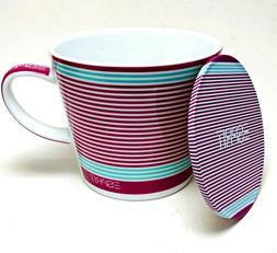 red coffee mug and saucer coaster set