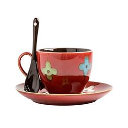 Verdental Retro Ceramic Drum Shaped Mini Coffee Mug with Sau