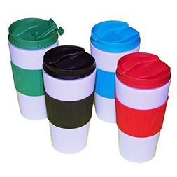 Reusable Travel Mug Hot Cold Non Slip Grip Screw Lid Flip Op