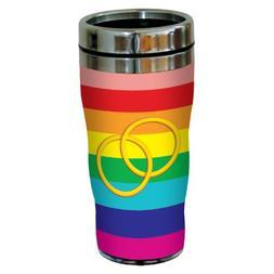 Tree-Free Greetings Rings on Rainbow Background Sip 'N Go St