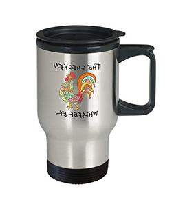 Rooster Coffee Travel Mug - Whisper - Chicken Novelty Gifts