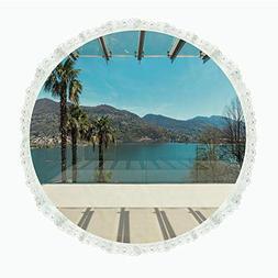 "104"" Round Polyester Linen Tablecloth,Travel Decor,Beach The"