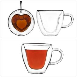 Set of 2 Kitchen Artisan Roast Double Walled Heart Shaped Te