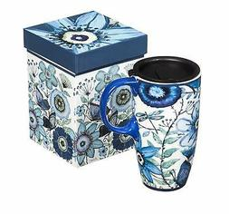 NEW Shades of Indigo Flowers and Butterflies Ceramic Travel