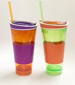 Kids Travel Cups SNACKZ6-2 Snackeez Drink Snack Holder