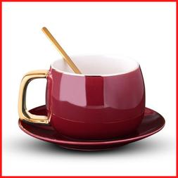 Spoon Drinking Teacup  Ceramic Coffee Cups And Mugs Travel C