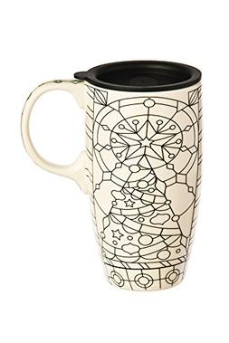 Cypress Home Stained Glass Coloring Book Ceramic Travel Coff