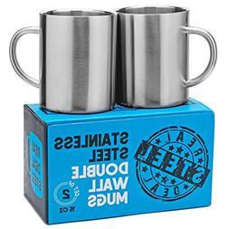 Stainless Steel Double Walled Mugs: 100% BPA Free,15 oz Meta