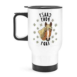 NOLIEE Stainless Steel Travel Coffee Blank Mug Crazy Pony La