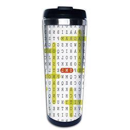 Stainless Steel Insulated Coffee Travel Mug,Language Word Pu
