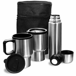 Stainless Steel Travel Mug Set - 1 flask & 2 mugs w/carry ca