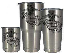 Stainless vacuum insulated 10 20 or 30 oz Marines tumbler- F