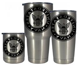 Stainless vacuum insulated 10 20 or 30 oz US Navy tumbler- F