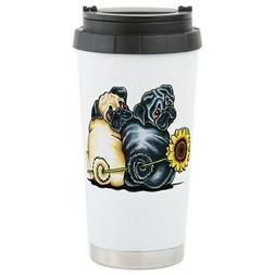 CafePress Sunny Pugs Travel Mug Stainless Steel Travel Mug
