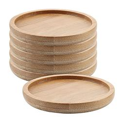 T4U 2.5 Inch bamboo Round Small Size Bamboo Tray Set of 6