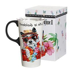 Ivy Home Tall 17oz Ceramic Travel Mug with Sealed Lid,Microw