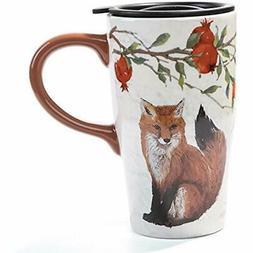Tall Ceramic Travel Coffee Cup/Mug With Lid 16oz-Fox Kitchen