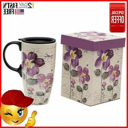 A Ting Tall Ceramic Travel Mug 17 oz. Sealed Lid With Gift B