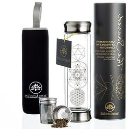 The Sacred Glass Tea Tumbler with Infuser + Strainer for Loo