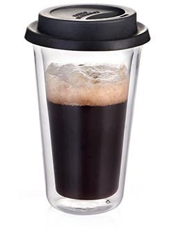Glass Travel Coffee Mug with Lid - Double Wall Thermo Insula