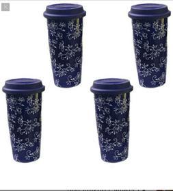 temp-tations Floral Lace Set of 4 16oz. Travel Mugs Bundle