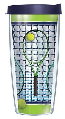 Tennis Racquets Clear 16 Oz Traveler Tumbler Mug with Lid