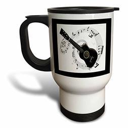 3dRose tm_50912_1 Music Notes and Guitar Travel Mug, 14-Ounc