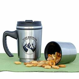 Travel Mug Double Wall Coffee Cup Stainless Steel With Handl