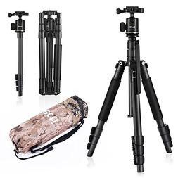 Camera Tripod, Zecti 55.5'' Professional Aluminum Travel Tri