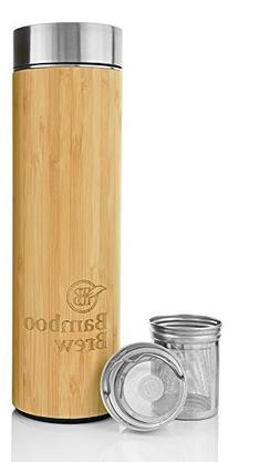 Bamboo Tumbler with Infuser & Strainer 17oz | Stainless Stee