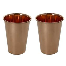 Set of 2, Glass Tumblers Drinkware Accessories Pure Copper T