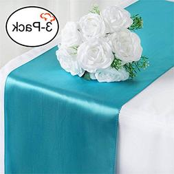Tiger Chef 3-Pack Turquoise 12 x 108 inches Long Satin Table