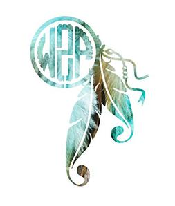 Turquoise Pattern Feather Dreamcatcher Monogram Decal Sticke