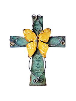 Unique Wooden Crucifix With Antiqued Metal Decorative Butter