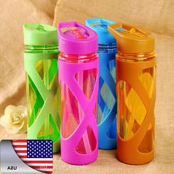 USA 580ml Drinking Bottle Cups Sports Travel Portable Straw