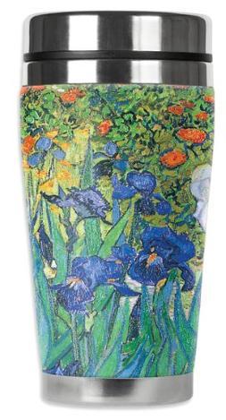 Mugzie Van Gogh Irises Travel Mug with Insulated Wetsuit Cov