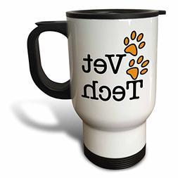 3dRose Vet Tech Veterinarian Travel Mug, 14-Ounce, Orange