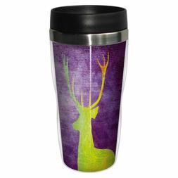 Vibrant Deer Artful Travel Mug - Premium 16 oz Stainless Lin
