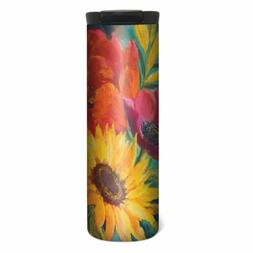 Vibrant Flowers on Blue Barista Tumbler Travel Mug - 17 oz S