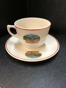 VINTAGE CONNECTICUT STATE Coffee Mug / Tea Cup & Saucer Trav
