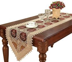 Simhomsen Vintage Embroidered Burgundy Lace Table Runner And