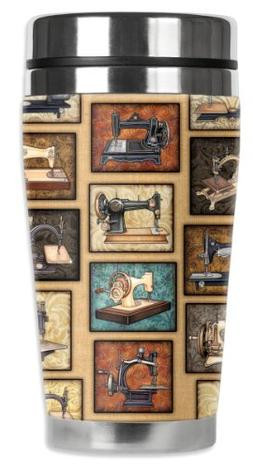 Mugzie Vintage Sewing Machines Travel Mug with Insulated Wet