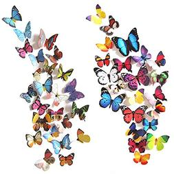 Heansun 80 PCS Wall Decal Butterfly, Wall Sticker Decals for
