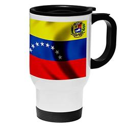 White Stainless Steel Coffee / Travel Mug - Flag of Venezuel