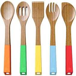 Vremi Wooden Spoons Bamboo Utensils - 5 Piece Serving Spoons