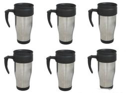 lot 6 x Stainless Steel Insulated Double Wall Travel Coffee