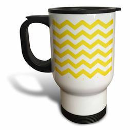 3dRose Yellow and White Chevron Travel Mug, 14-Ounce