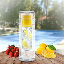 Yellow Bpa Free Clear Tea Tumbler Water Bottle fruit Infuser